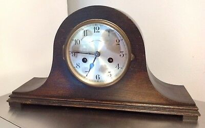 "Antique LARGE 17"" Vintage Napoleon Hat CHIMING Mantel Clock 2 HOLE WIND WITH KEY"