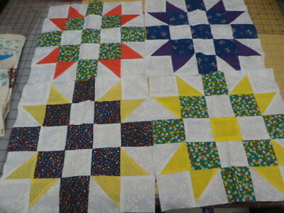 13 Pieced Blocks 12.5 X12.5 All Different Colors