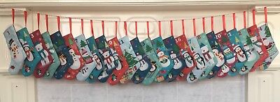 Fabric Stocking Christmas Advent Calendar With String Frosty Friends