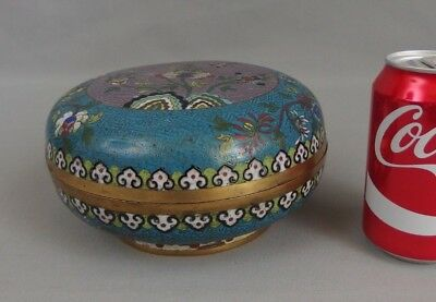 Antique Chinese Cloisonne Enamel Circular Round Covered Box 19th C. Qing