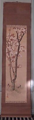 Antique chinese or japanese watercolor hanging scroll painting W birds & signed