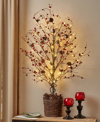 """The Lakeside Collection 39"""" Lighted Half Trees - Country Berries"""
