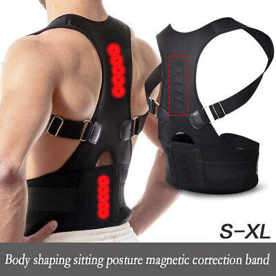 Back Magnetic Therapy Posture Corrector Body Pain Belt Brace Shoulder Support