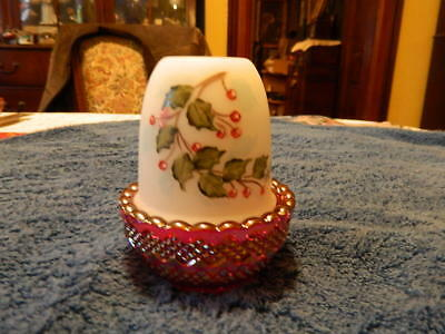 Mosser Red Carnival Berry Branch Fairy Lamp  Artist Signed