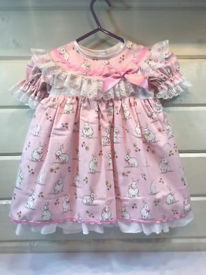 Hannahs Boutique Girls Pink Bunnies Spanish Style Lined Dress 2-3 Years