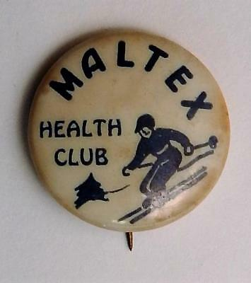 Vintage Maltex Health Club Cereal Premium Pinback Button with Snow Skier Skiing