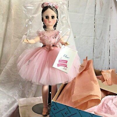 "Madame Alexander Elise Ballerina Doll 17"" Brown Hair Eyes Pink Dress #1632 60's"