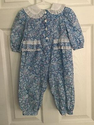 Vintage Sweet Treats 18 Month Floral Lace Ruffle Longall 80's 90's