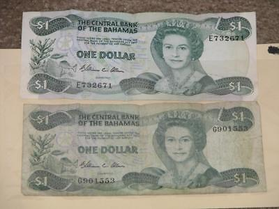 2 used 1 Dollar Central Bank of the Bahamas Notes