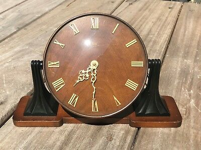 Vintage Art Deco Oak & Bakelite English Made Smiths Sectric Mantel Clock