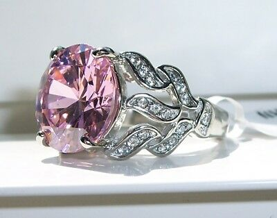 STAINLESS STEEL Huge Simulated Pink Sapphire & AAA Grade Cubic Zirconia Ring-NWT