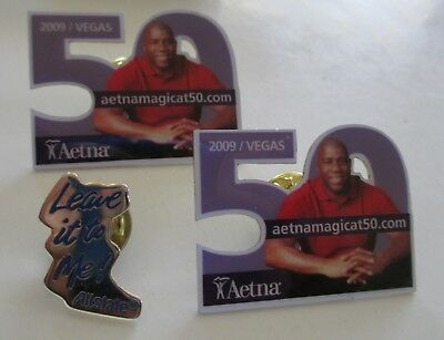 XNice 3pc AETNA & ALLSTATE INSURANCE Lapel Pin Lot MAGIC JOHNSON (AP19