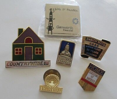XNice 6pc BANK & CREDIT UNION Lapel Pin Lot HOME PASADENA UNION COUNTRYWIDE(AP23