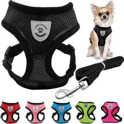 Breathable Mesh Small Dog Pet Harness and Dog Leash Set Puppy Vest Chest Strap