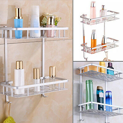 Bathroom Shelf Aluminum Alloy Storage Rack Shower Tidy Organizer Wall Mounted