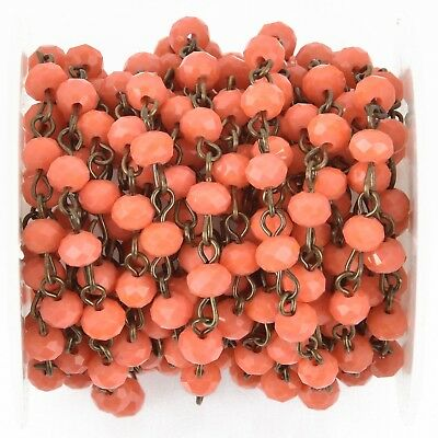 1 yard CORAL RED Crystal Rondelle Rosary Chain, bronze, 8mm beads fch0979a
