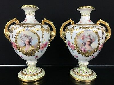 Stunning Pair Of Antique German Vases With Hand Painted Portraits Signed