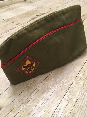 Mens Vintage Boy Scouts Of America BSA Patch Olive Green Garrison Cap Hat Medium
