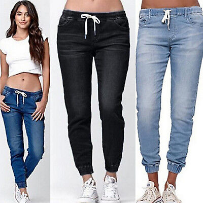 Womens Summer Casual Denim Pants Ladies Drawstring High Waist Jeans Trousers US