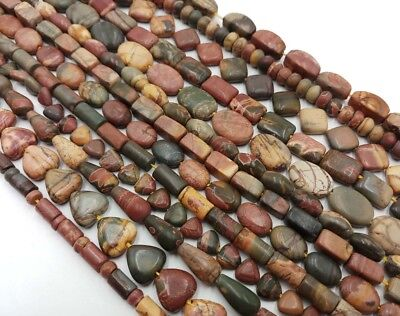 Natural 10 Style Multicolor Picasso Jasper Gemstone Loose Beads 15''