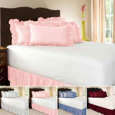 ❥ Elastic Bed Skirt Valance Dust Ruffle Easy Fit Wrap Around Drop Wrap 200*200cm