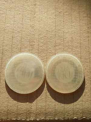 A Pair Antique Chinese Hand Carved  Mother Of Pearl Gaming Chip