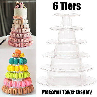6 Tiers Round Clear Macaron French Macaroons Tower Pyramid Stand Rack Weddings