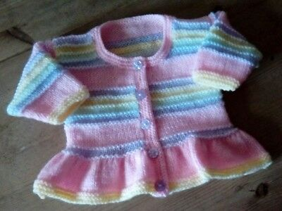 Pretty hand knitted baby matinee cardigan, 0-3 months - 4 soft colours, FREE P&P