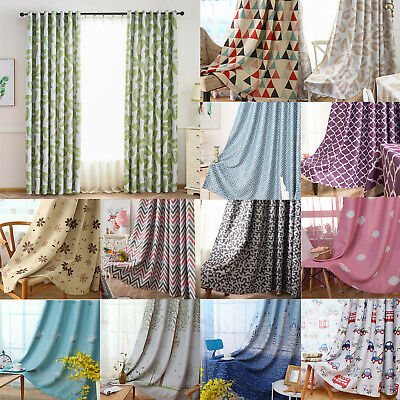 Various Print Home Curtains Thermal Blackout Eyelet Ring Top Curtains Ready Made