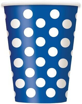 Dots Royal Blue Paper Cups Pack Of 6 Birthday Party Supplies