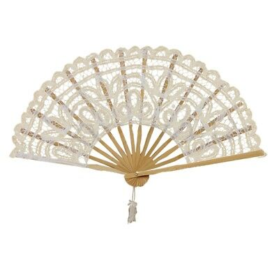 Vintage Lady Handmade Lace Hand Fan Bridal Wedding Party Decoration, Lvory C7B9