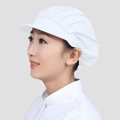 2X Women White Catering Hat Food Hygiene Snood Cap Chef Bakers Bouffant Cap NE8