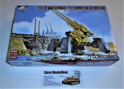 WWII first of war german E-75 128mm Flak 40 Zwilling 1:72 Modelcollect UA72117