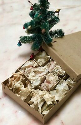 Antique Vintage Box Of Original Christmas Tree Glass Bell Bauble Decorations