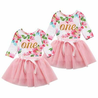 Baby Girls 1st First Birthday Tutu Dress Floral Romper Skirt Outfit Cake Smash