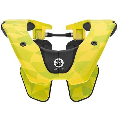 New 2018 Atlas Air Neck Brace Neon Prism Flo Yellow Motocross Bmx Adult Enduro