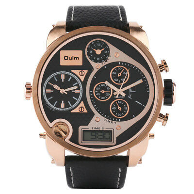 OULM Big Dial Military Japan Movement Watch Mens Sports Rose Gold Case Watches