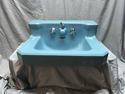 Vtg Mid Century Blue Porcelain Ceramic Bathroom Sink Standard Shelf Back 364-18E