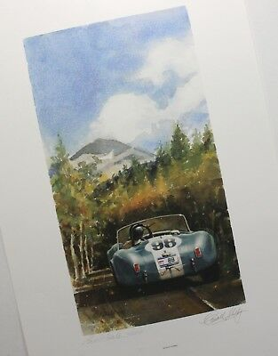 1964 Ken Miles Cobra Hand Signed 6/500 Bill Neale Carroll Shelby Racing Poster