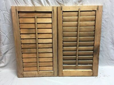 Small Pair Antique House Window Wood Louvered Shutters 24x14 Shabby Vtg 367-18E