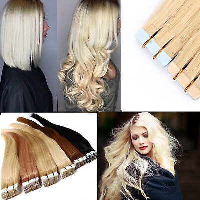 7A 100G Tape In 100% Remy Human Hair Extensions Brazilian Real Thick UK STOCK