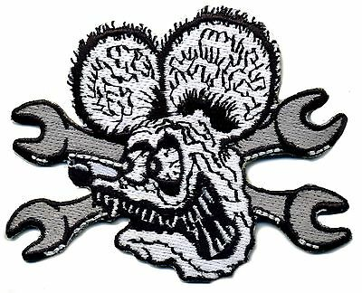 Hot Rod Patch RAT FINK Badge with wrenches Drag race Ed Big Daddy Roth Iron On