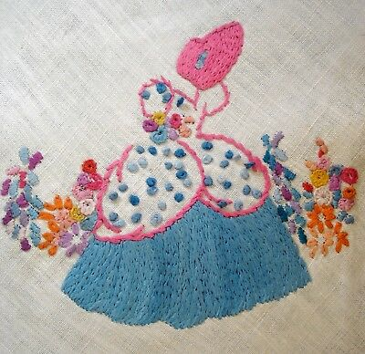 Vintage Hand Embroidered Linen Picture Crinoline Lady In A Garden