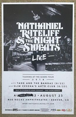 NATHANIEL RATELIFF & The Night Sweats 2018 Red Rocks 11x17 Promo Concert Poster