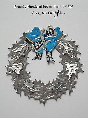 Wreath Christmas Tree Ornament Handmade Recycled Aluminum Metal Blue M Beer Can