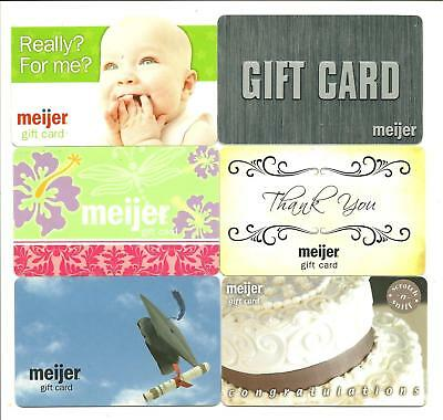 Lot (6) Meijer Gift Cards No $ Value Collectible Cake Baby Graduation