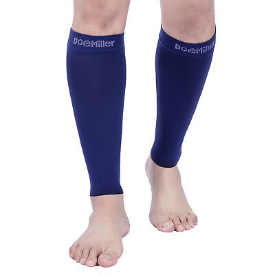 Doc Miller Calf Compression Sleeve 1 Pair 20-30mmHg Varicose Recovery DARK BLUE