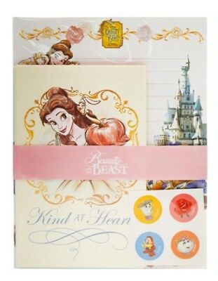 Disney Beauty And Beast Bell Letter Envelopes Staionery Paper Set Cute Design