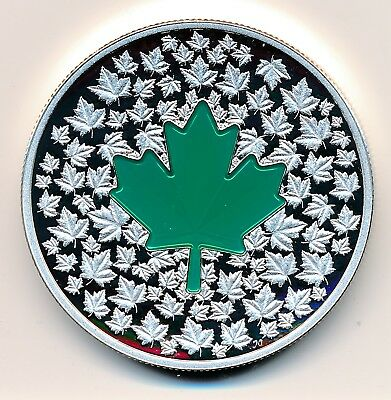 Canada 20 Dollars  2014 Maple Leaf Impression Green -  Proof .999 Silver