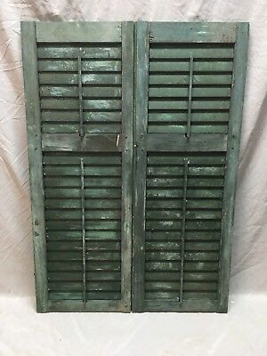 Pair Antique House Window Wood Louvered Shutters 43x15 Shabby Vtg Chic 369-18E